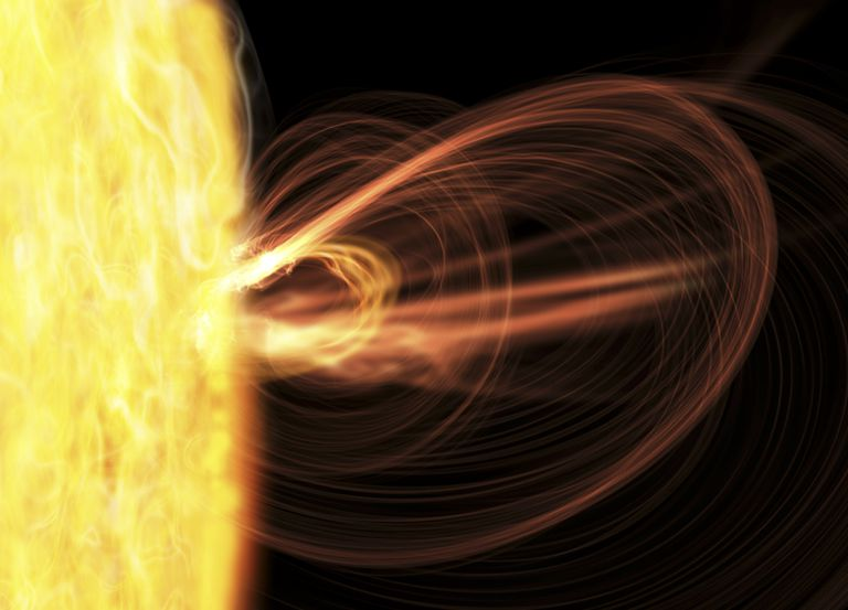 Solar flares are often accompanied by a coronal mass ejection.