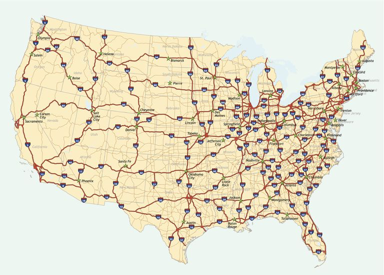 Map of the 48 conterminous United States with Interstate system