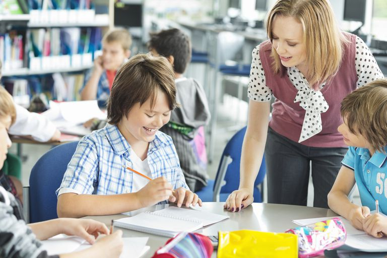 Teacher helping student with work in classroom