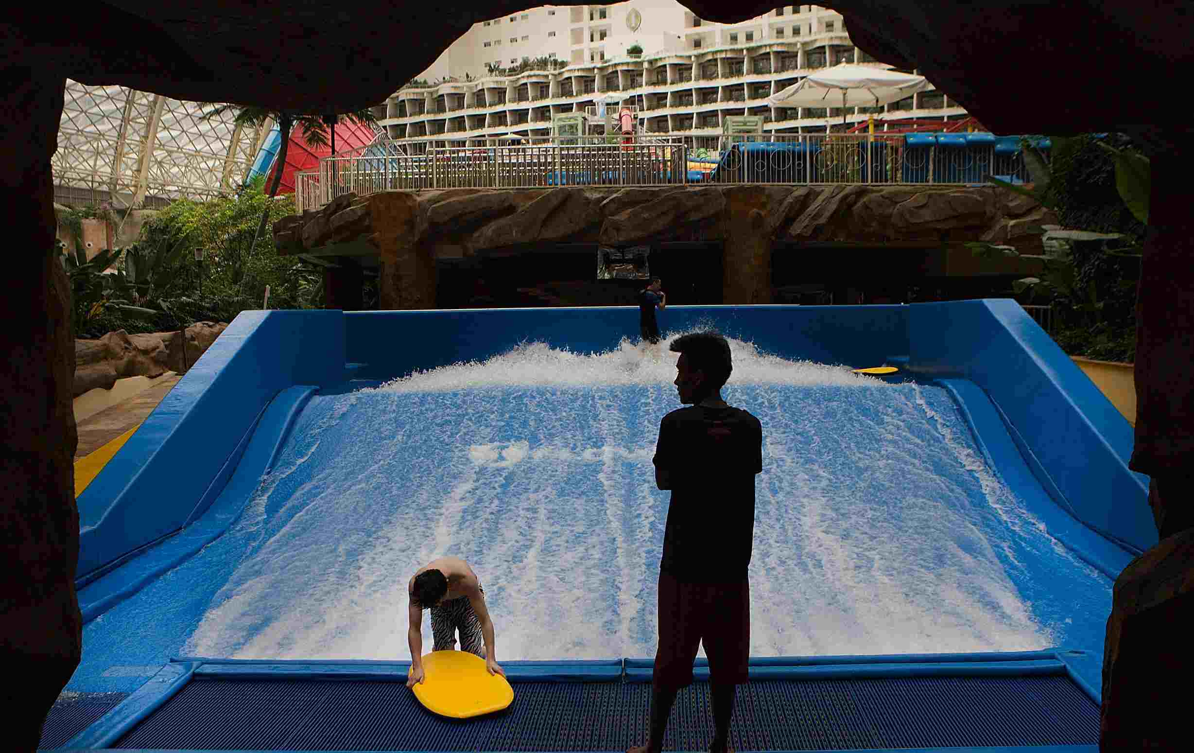 The Surf Simulator at the Paradise Island Water Park inside the largest building in the world, the New Century Global Center, Chengdu, China