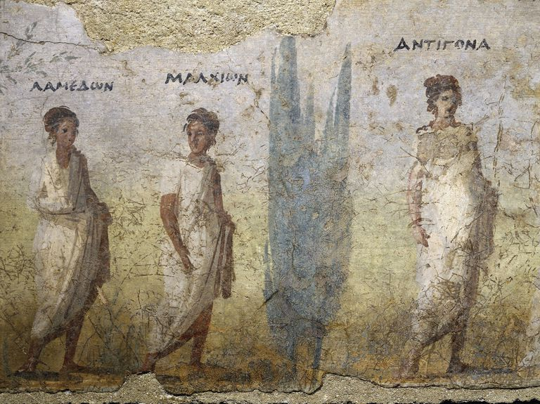 Funerary fresco of doctor Patron, from Porta Capena at Rome, Detail of procession of priestesses