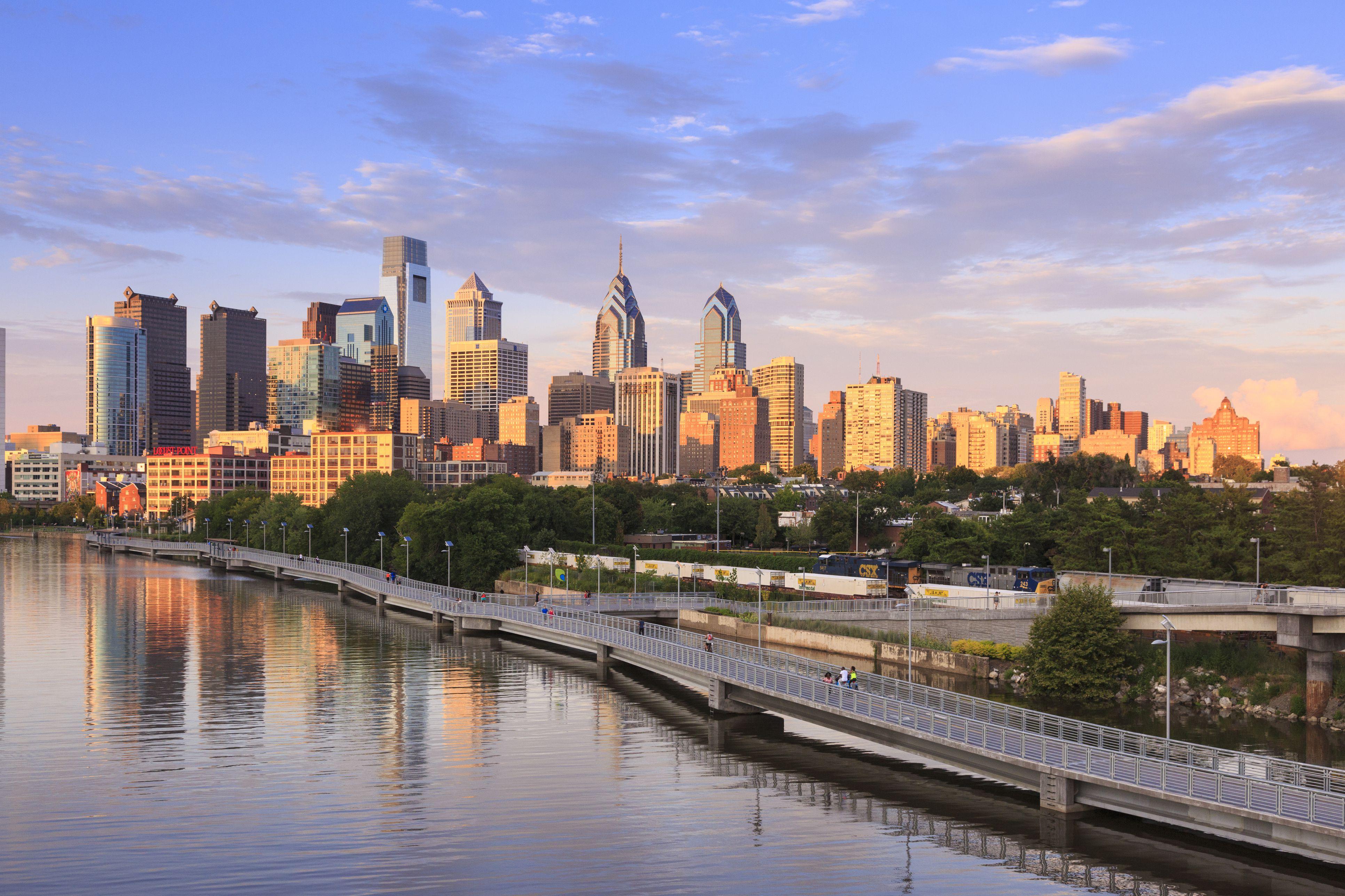 Philadelphia skyline with Schuylkill River