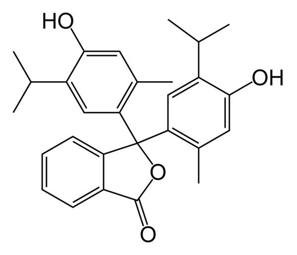 The chemical structure of thymolphthalein.