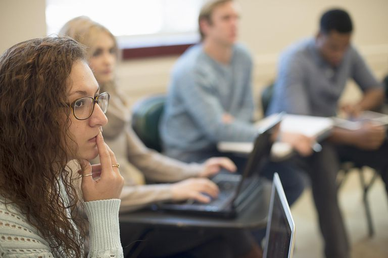 students concentrating in class