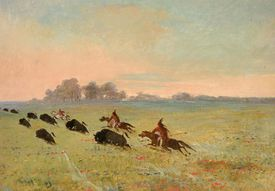 Comanche Indians Chasing Buffalo, Painting by George Catlin, 1845–1846