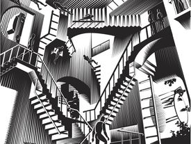 Esher style illustration featuring multiple staircases running in different perspedtives with fugures moving about everyday life