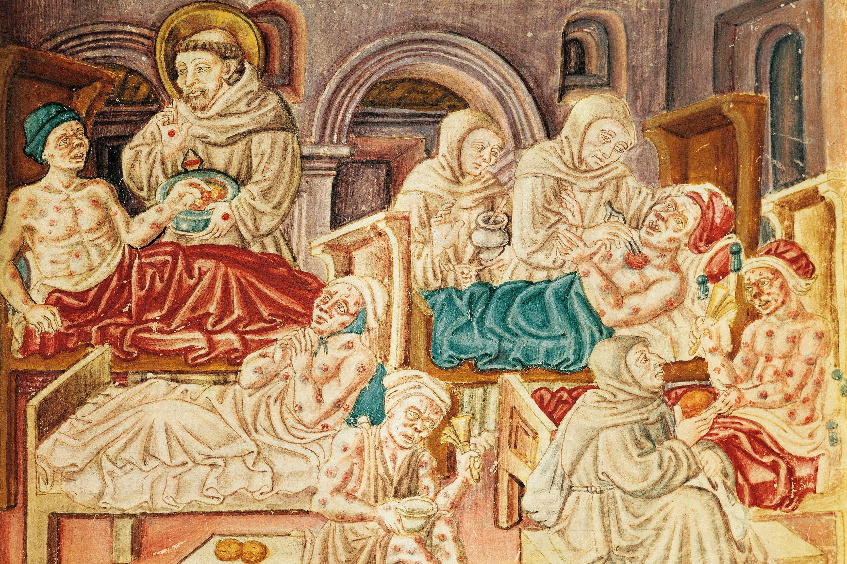 The Franciscans treating victims of the plague, miniature from La Franceschina, ca 1474, codex by Jacopo Oddi (15th century). Italy, 15th century.
