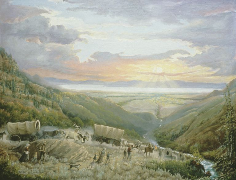 Pioneers entering Salt Lake Valley in 1847