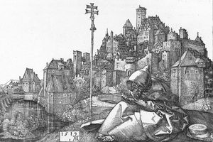 St. Anthony, the Father of Monasticism, reads on a hill in a drawing from 1519