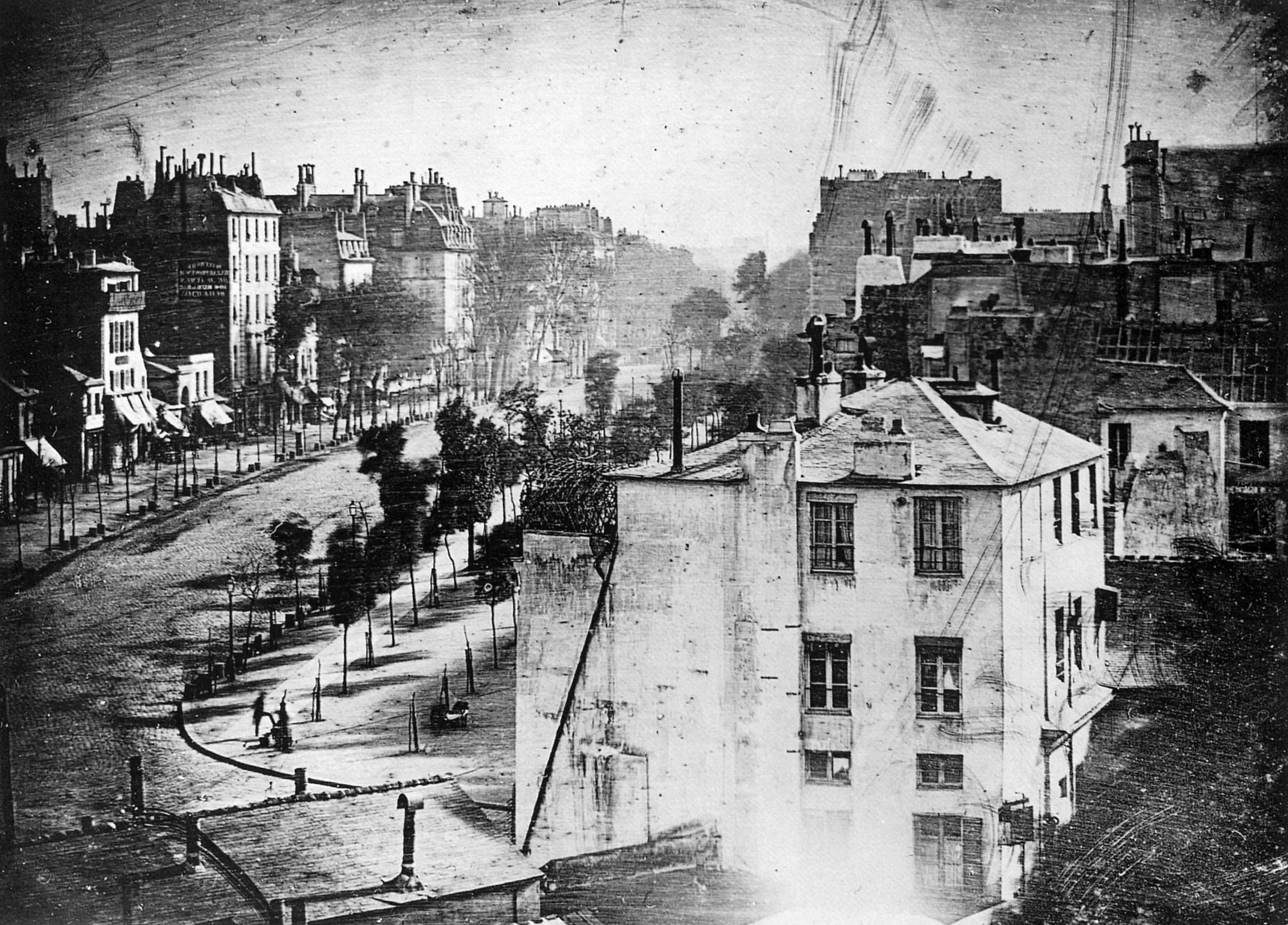 Boulevard du Temple, Paris - Daguerreotype taken by Louis Daguerre.