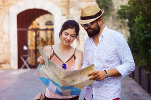 Tourists looking at a map