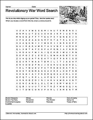 Revolutionary war printable wordsearch revolutionary war wordsearch ibookread Read Online
