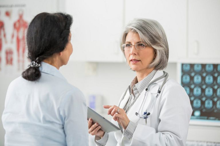 Woman visiting doctor