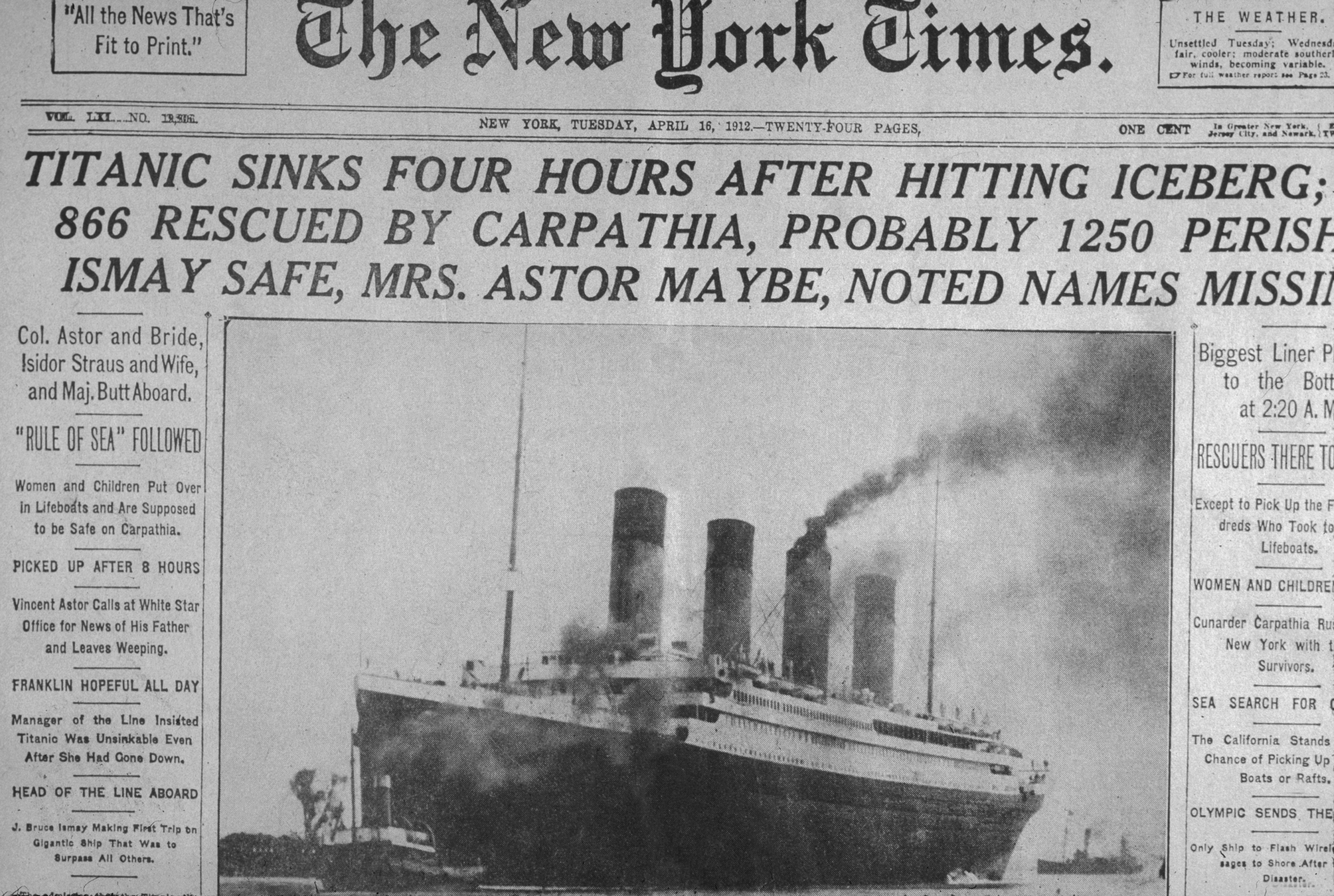 New York Times front page - Sinking of The Titanic