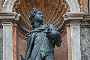 Close up of Apollo Statue, Campanile of St. Mark's, Venice, Italy