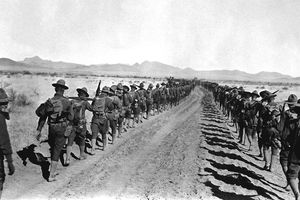 Pancho Villa Expedition. Column of 6th and 16th Infantry, en route to the States, between Corralitos Rancho and Ojo Federico, Jan 29th, 1917.