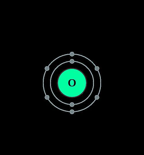 This diagram of an oxygen atom shows the electron shell.