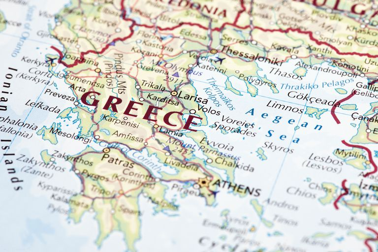 Close up map of Greece.