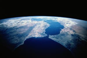 Satellite image showing the strait of Gibraltar and the Mediterranean Sea.