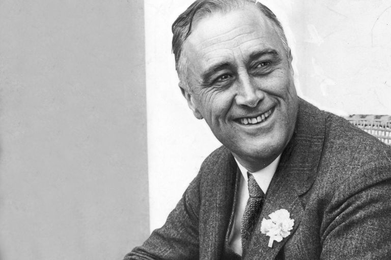 1928: American statesman Franklin Delano Roosevelt (1882 - 1945) smiling when he heard that he was leading the contest for Governor of New York State on June 1, 1928.