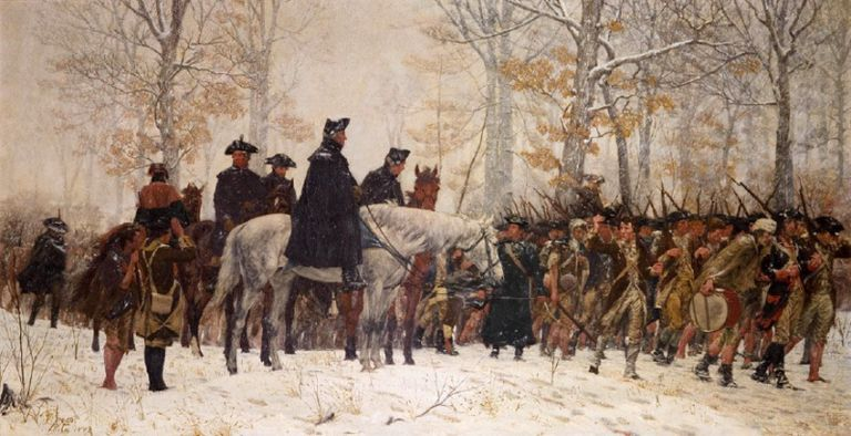 The Continental Army arriving at Valley Forge