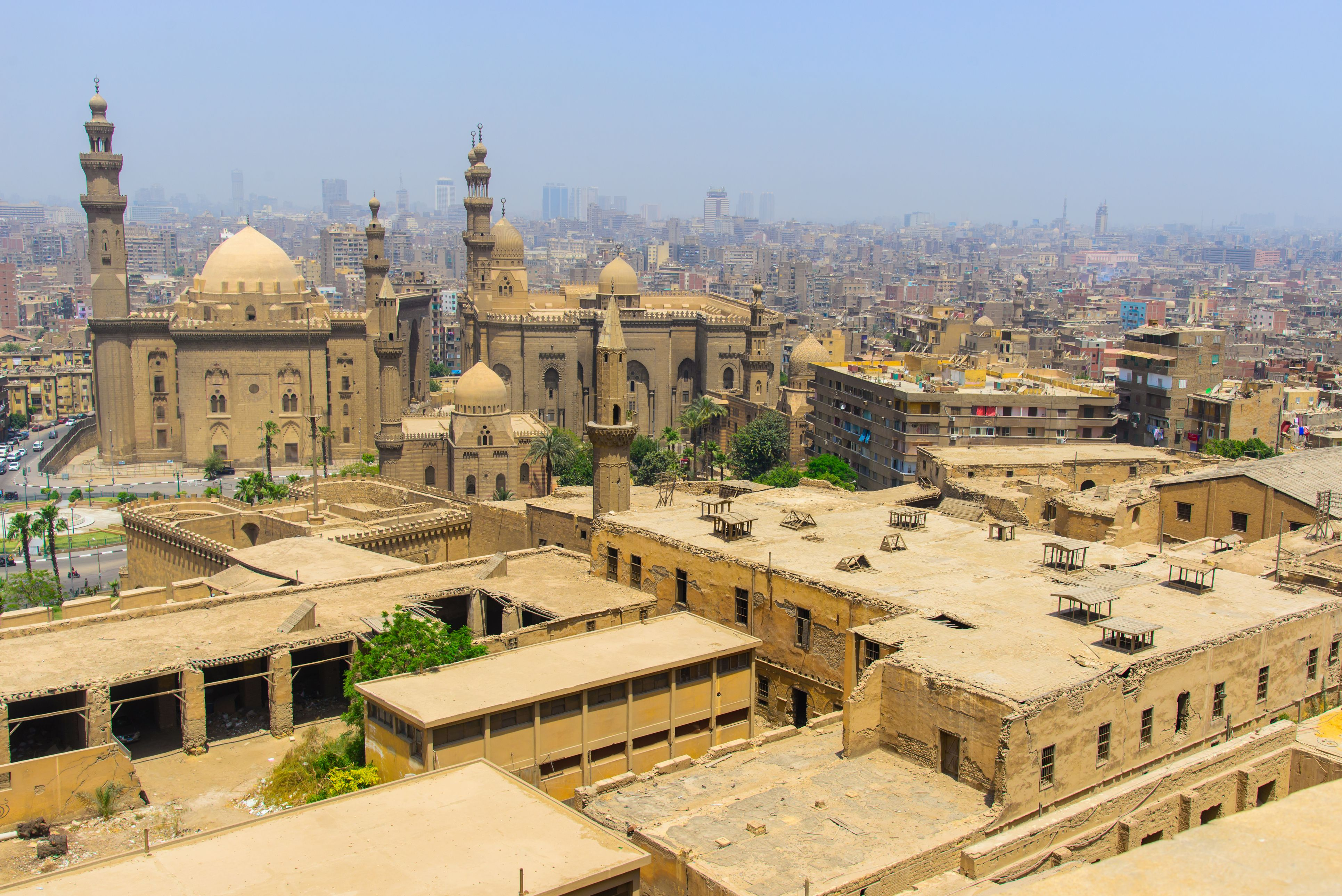 View of Cairo city from Citadel on hazy day.