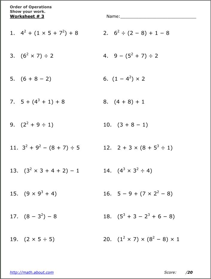 Math Worksheets Order Of Operations Or Pemdas