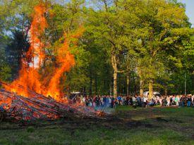 Gathering at Easter bonfire