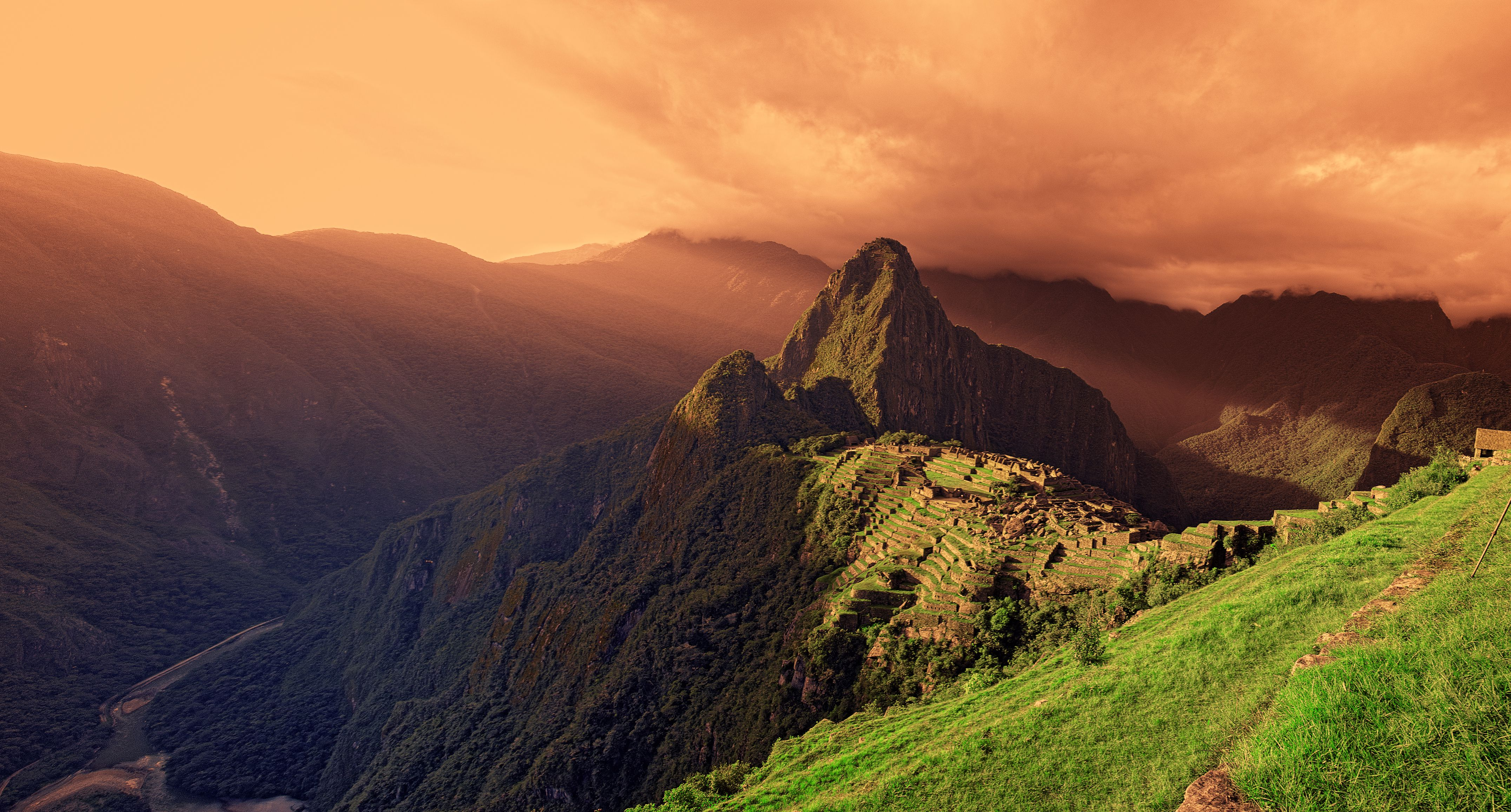 Machu Picchu at sunset.