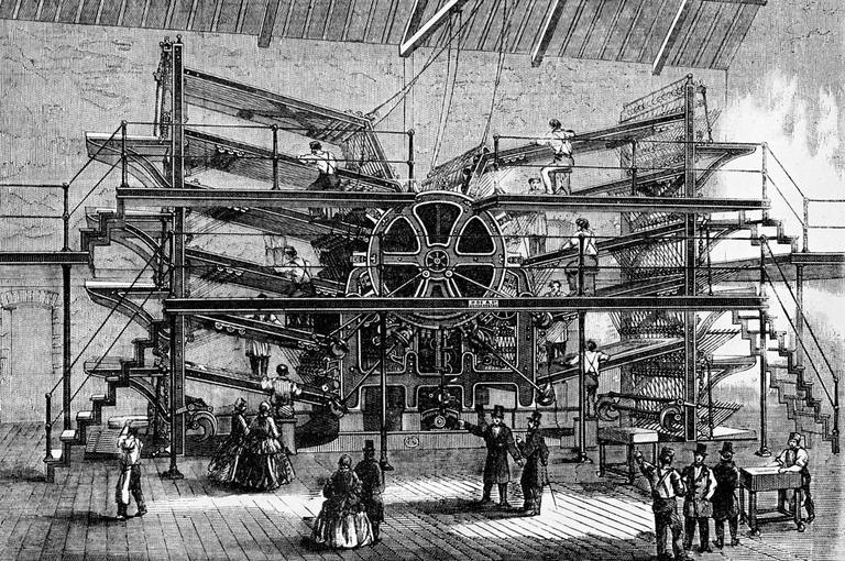 Illustration of a 19th century newspaper press