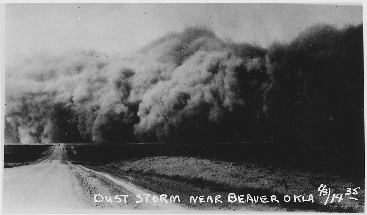 Dust Storm in Oklahoma during the Great Depression.