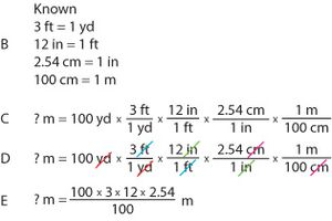 Yards to Meter Example Problem