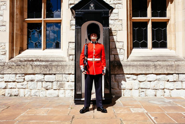 A British guard standing watch