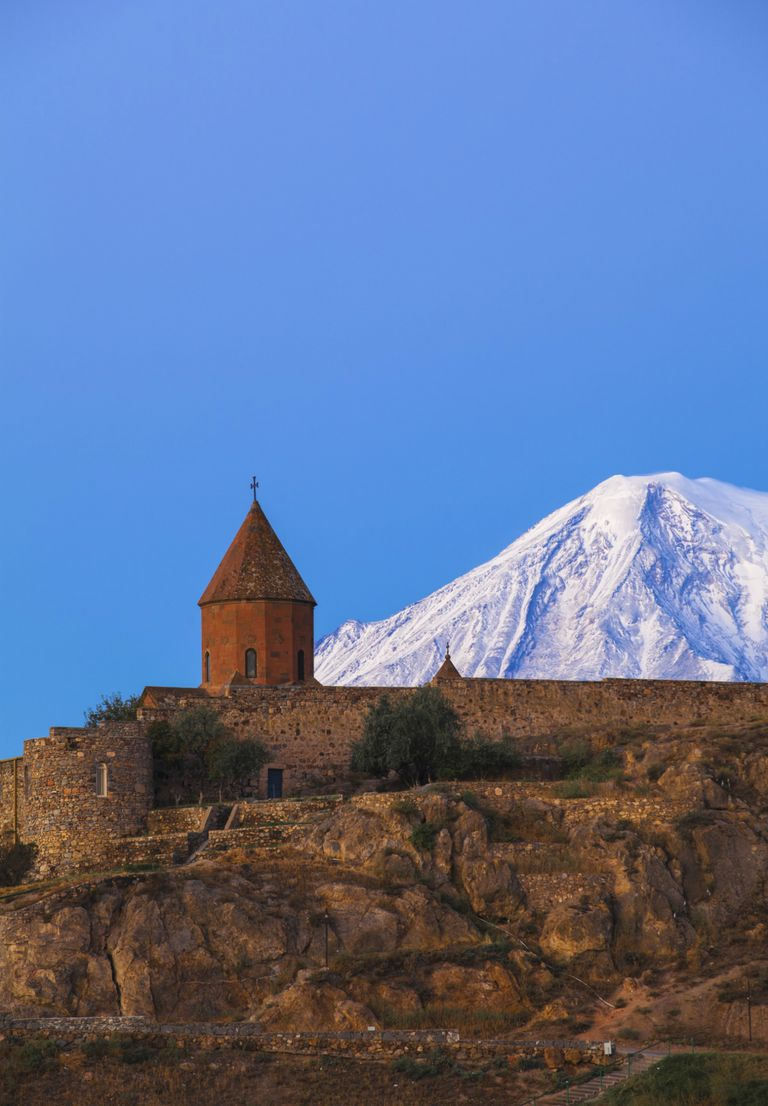 Khor Virap Armenian Apostolic Church monastery, at the foot of Mount Ararat