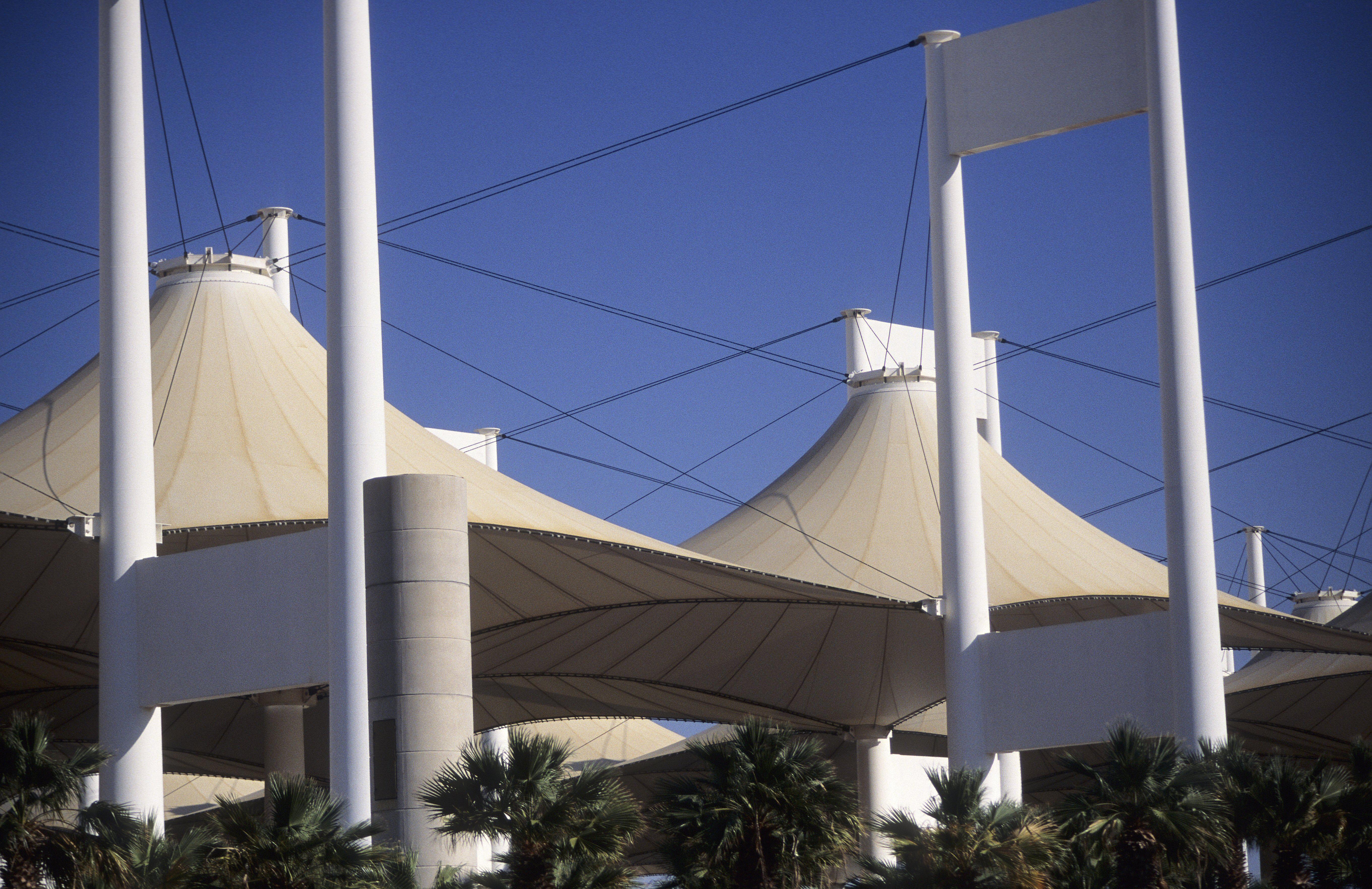 Tensile architecture, Hajj Terminal designed by Gordon Bunshaft, Jeddah, Saudi Arabia