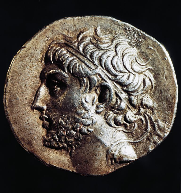 Silver tetradrachm of Philip V of Macedon bearing profile of sovereign, recto, Greek coins, 3rd-2nd century BC