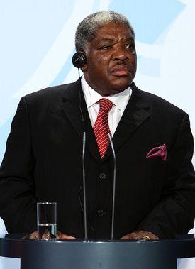 Zambian President Levy Mwanawasa during a press conference