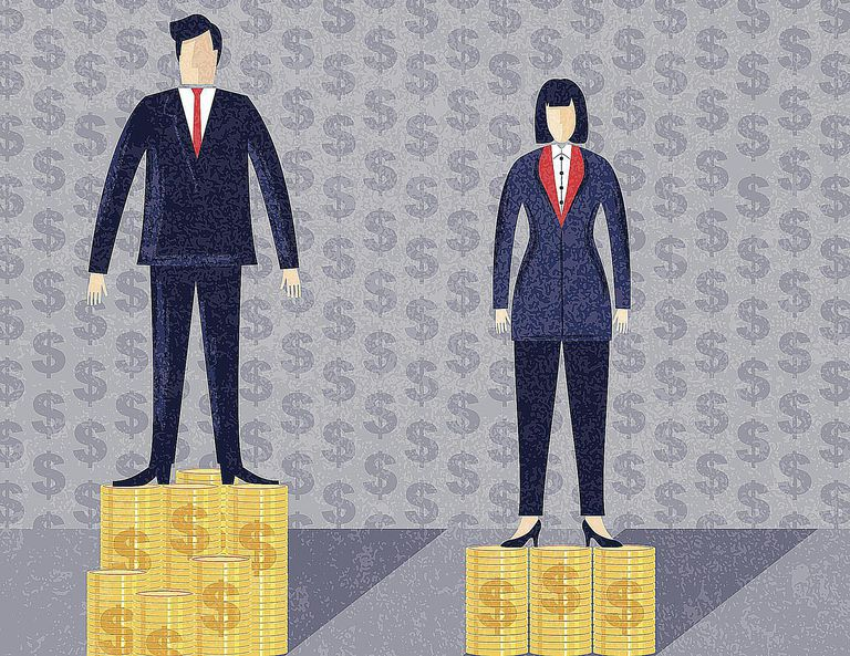 An image of a man standing on a larger pile of money than a woman symbolizes the gender pay gap.