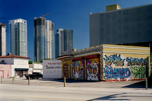 Urban Downtown Miami Cityscape with Graffiti and Skyscrappers