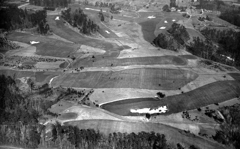 Aerial view of Augusta National in 1933, designed by Alister Mackenzie