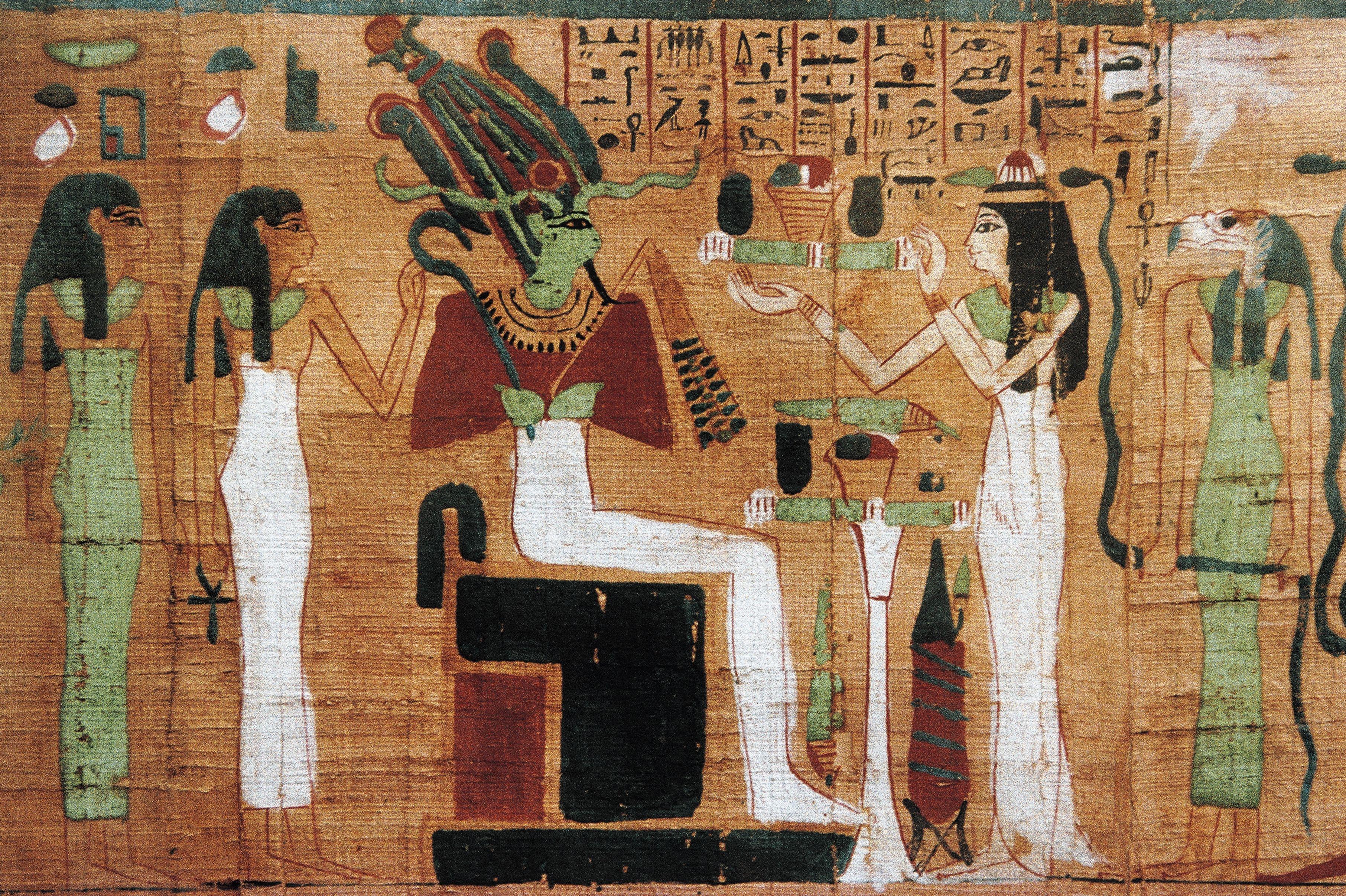 Painting of Osiris on his throne.