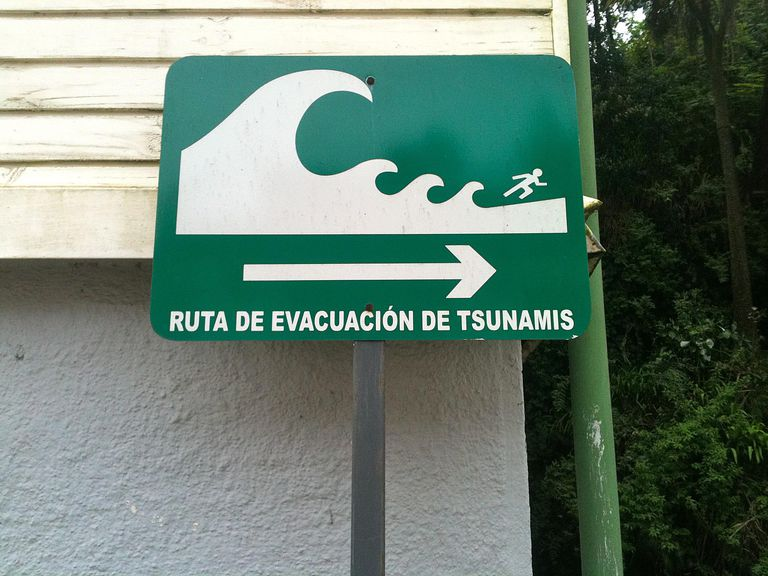Tsunami sign in Chile