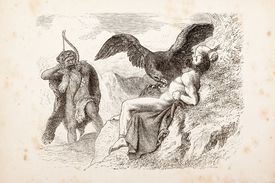 Engraving of Prometheus being eaten by eagle