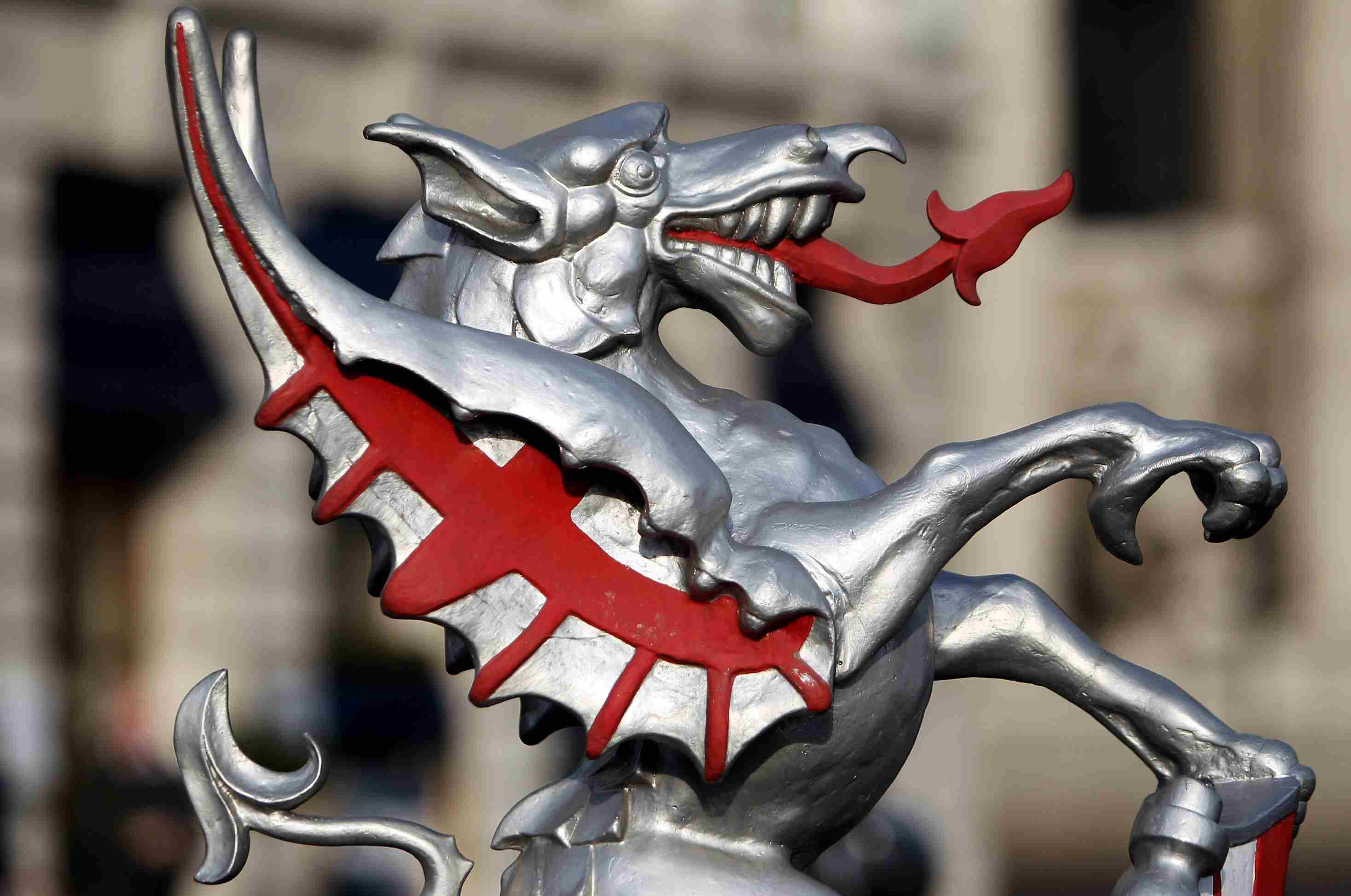 Close-up of dragon statue in the City of London