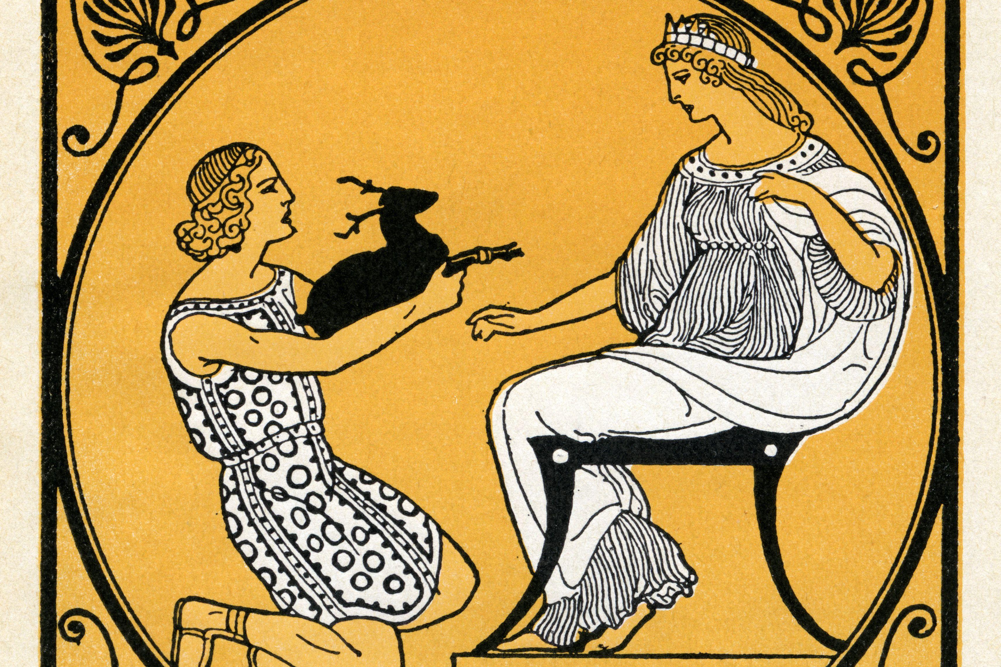 Menelaos, als er Helen das Geschenk eines Kitzes gibt