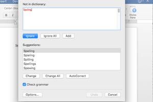 Screenshot of spell checker