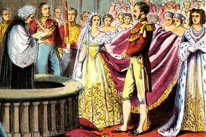 drawing of the wedding of Queen Victoria and Prince Albert