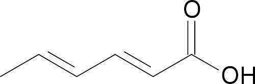 Esta es la estructura química del ácido sórbico.
