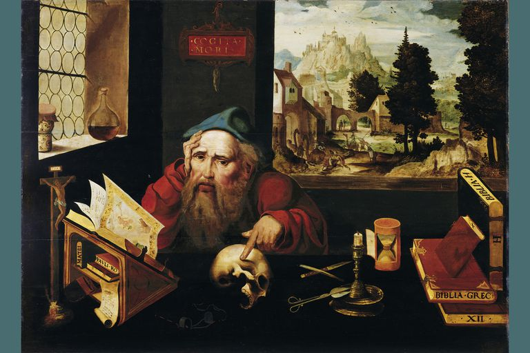 Anchorite Saint Jerome in his cell, 1520s. Artist: Joos van Cleve