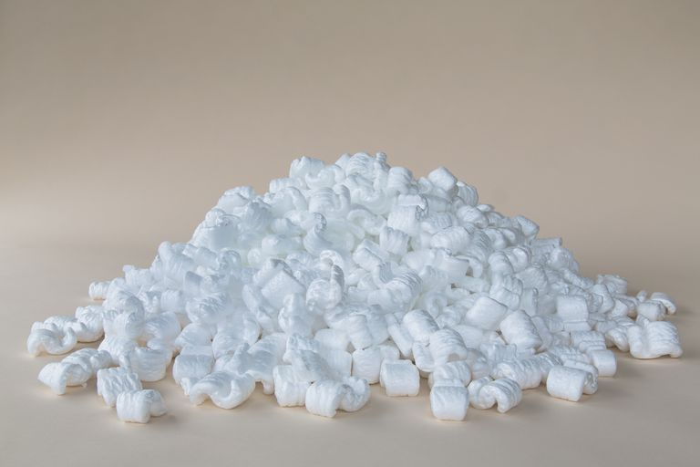 A pile of packing nuts, manufactured from polystyrene